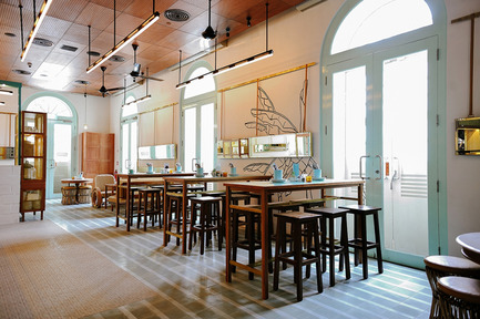 Press kit | 1124-09 - Press release | WIN Awards - Hospitality Shortlist Announced - World Interiors News - Commercial Interior Design - WIN Awards 2016 - Cafés Category:&nbsp;Privé ACM by HUI Design (Singapore)<br><br>Set in a historical site in Singapore, HUI evoked a sense of nostalgia by using traditional elements in a modern way to create a venue that has a link to the museum and historical building that house it.<br><br>'It ticks a lot of boxes for me because of its welcoming environment, which is achieved with the nods to the heritage and the choice of colours and materials, making it feel very homely. The use of teal, wood and bronze is very subtle and the patterns they have chosen for the fabrics are very much Asia, very Singapore. It's very accessible - not elitist at all with some very nice detailing seen, for example, in the mirrors and the straps. It's a welcoming café and I'd like to go there.' FT&nbsp;<br><br>'Fun and interesting, a good blend of modern and traditional.' DA - Photo credit: HUI Design