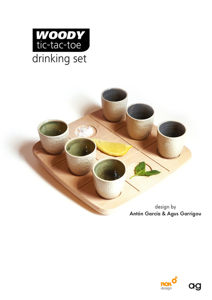 Press kit | 2155-01 - Press release | WOODY Tic Tac Toe - Drinking set - ROKdesign + AG Cerámica - Product - Promotional poster - Photo credit: Agus Garrigou & Antón García