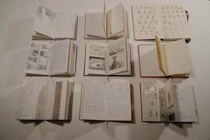 Press kit | 748-28 - Press release | Fall 2016 at the UQAM Centre de Design - Centre de design de l'UQAM - Event + Exhibition - Le tout et la partie<br>Michèle Lemieux, from drawing to animation<br><br>Sketchbooks<br> - Photo credit: Michèle Lemieux