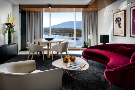 Press kit | 2065-01 - Press release | 'The Owner's Suite Collection' is Unveiled   at Fairmont Pacific Rim in Vancouver, Canada - Fairmont Pacific Rim - Commercial Interior Design - Living Room - Photo credit: Fairmont Pacific Rim