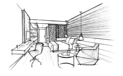 Press kit | 2177-01 - Press release | Atelier Pod Designed the Guest Rooms of the New Radisson Blu in Marrakech - Atelier Pod - Commercial Interior Design - Radisson Blu Marrakech_Sketch perspective - Photo credit: Atelier Pod