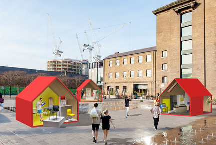 Dossier de presse | 1109-09 - Communiqué de presse | designjunction brings immersive design experiences and its first open-air party to King's Cross - designjunction - Évènement + Exposition - Crédit photo : Eight monopoly-style houses on Granary Square as part of designjunction 2016