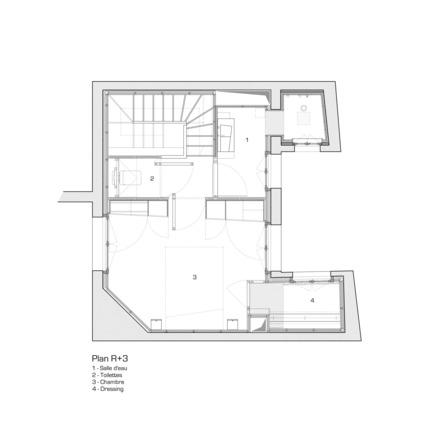 Press kit | 2180-01 - Press release | A big LITTLE nest - Mickaël Martins Afonso & L'atelier miel - Residential Interior Design - Third floor plan - Photo credit: Mickaël Martins Afonso & L'atelier miel