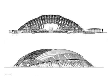 Press kit | 2186-01 - Press release | Singapore National Stadium - Arup Associates - Institutional Architecture -  The dome structure provides shade and cooling when required and is left open when the stadium is not in use, keeping the grass pitch in healthy condition  - Photo credit:  Arup Associates