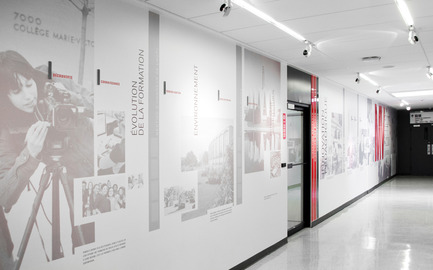 Press kit | 2064-01 - Press release | Applying art to education at Cégep Marie-Victorin - Cégep Marie-Victorin - Commercial Interior Design - Administrative corridor - Photo credit: Emilie Summermatter