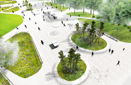 Press kit | 2191-01 - Press release | The Viger Square revitalization: a hybrid landscape grounded in its built and artistic heritage - Ville de Montréal and NIPPAYSAGE - Landscape Architecture -   Bird's-eye view of central axis<br>(Théberge block)   - Photo credit: NIPPAYSAGE