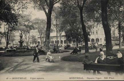Press kit | 2191-01 - Press release | The Viger Square revitalization: a hybrid landscape grounded in its built and artistic heritage - Ville de Montréal and NIPPAYSAGE - Landscape Architecture -   Viger square, Montreal, QC, about 1907, Neurdein Frères<br>(Théberge block)   - Photo credit: Gift of Mr. Stanley G. Triggs, MP-0000.840.6<br>© McCord Museum