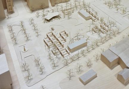 Press kit | 2191-01 - Press release | The Viger Square revitalization: a hybrid landscape grounded in its built and artistic heritage - Ville de Montréal and NIPPAYSAGE - Landscape Architecture -   Detail of project model<br>(Chénier and Daudelin blocks)   - Photo credit: NIPPAYSAGE - ATELIER DÉDALE