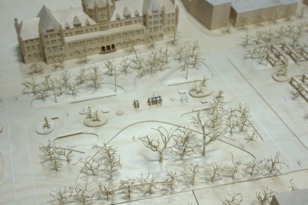 Press kit | 2191-01 - Press release | The Viger Square revitalization: a hybrid landscape grounded in its built and artistic heritage - Ville de Montréal and NIPPAYSAGE - Landscape Architecture -   Detail of project model<br>(Théberge block)   - Photo credit: NIPPAYSAGE - ATELIER DÉDALE