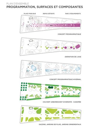 Press kit | 2191-01 - Press release | The Viger Square revitalization: a hybrid landscape grounded in its built and artistic heritage - Ville de Montréal and NIPPAYSAGE - Landscape Architecture - Program, surfaces and components - Photo credit: NIPPAYSAGE