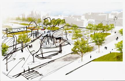 Press kit | 2191-01 - Press release | The Viger Square revitalization: a hybrid landscape grounded in its built and artistic heritage - Ville de Montréal and NIPPAYSAGE - Landscape Architecture -   Sketch of spatial relationships along Saint-Denis street<br>(Daudelin block)   - Photo credit: NIPPAYSAGE