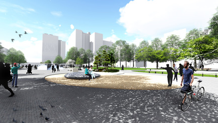 Press kit | 2191-01 - Press release | The Viger Square revitalization: a hybrid landscape grounded in its built and artistic heritage - Ville de Montréal and NIPPAYSAGE - Landscape Architecture -   Atmospheric rendering of central axis<br>(Théberge block)   - Photo credit: NIPPAYSAGE