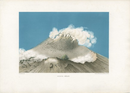 "Dossier de presse | 756-13 - Communiqué de presse | The CCA presents ""17 Volcanoes: works by Franz Wilhelm Junghuhn, Armin Linke and Bas Princen"" - Canadian Centre for Architecture (CCA) - Event + Exhibition - Franz Wilhelm Junghuhn. Gunung Merapi, in Java-Album. Landschafts-Ansichten von Java, nach der Natur aufgenommen, Leipzig: Arnoldische Buchhandlung, 1856. - Crédit photo : N/A"