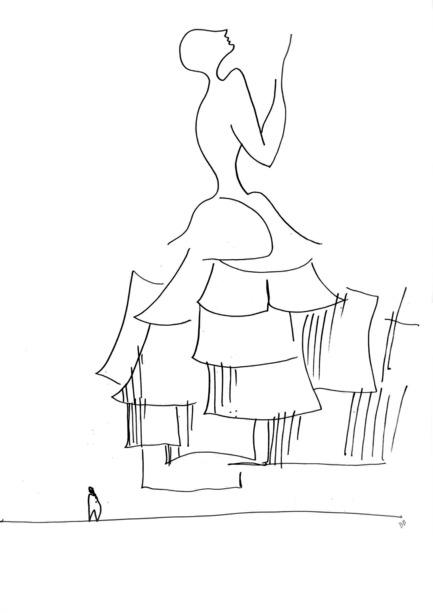 Press kit | 2211-01 - Press release | Dior Miami Facade - BarbaritoBancel Architects - Commercial Architecture - Inspiration sketch based on Dior dresses - Photo credit: Ivana Barbarito