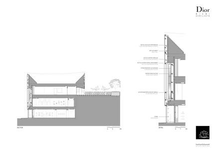 Press kit | 2211-01 - Press release | Dior Miami Facade - BarbaritoBancel Architects - Commercial Architecture - Facade section and detail - Photo credit: BarbaritoBancel architects