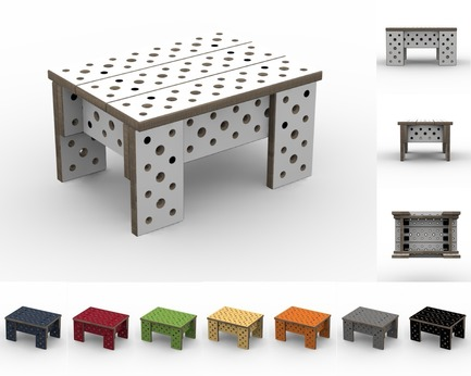 Press kit | 2261-01 - Press release | Furniture that Adapts to Ever-Changing Needs and Spaces - MOJUHLER - Product - 3d Renderings of Mini Bench Kit and available colors - Photo credit: MOJUHLER