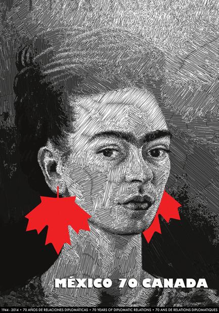 Dossier de presse | 748-23 - Communiqué de presse | Faire mouche grâce à l'image – Exposition rétrospective de l'affichiste Nelu Wolfensohn au Centre de design de l'UQAM - Centre de design de l'UQAM - Évènement + Exposition - MÉXICO-CANADA, 70 ans de relations diplomatiques, 2014, par Nelu Wolfensohn / Affiche sélectionnée à la Biennale internationale de l'affiche, La Paz, Bolivie, 2015; et à la Golden Bee Biennale internationale de l'affiche. Moscou, Russie, 2016 - Crédit photo : Nelu Wolfensohn