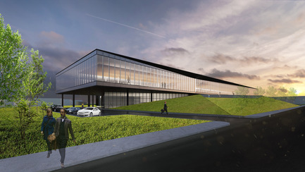 Dossier de presse | 865-21 - Communiqué de presse | Lemay to Design New Lumenpulse Head Office: A Window on the St. Lawrence River - Lemay - Architecture commerciale - Perspective – Fenêtre sur le fleuve Saint-Laurent - Crédit photo : Lemay