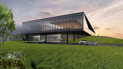 Dossier de presse | 865-21 - Communiqué de presse | Lemay to Design New Lumenpulse Head Office: A Window on the St. Lawrence River - Lemay - Commercial Architecture - Perspective – Visitor Entrance - Crédit photo : Lemay