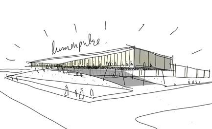 Dossier de presse | 865-21 - Communiqué de presse | Lemay to Design New Lumenpulse Head Office: A Window on the St. Lawrence River - Lemay - Architecture commerciale - Croquis – approche conceptuelle - Crédit photo : Lemay