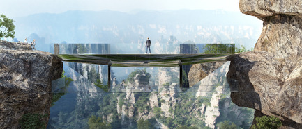 "Press kit | 1040-04 - Press release | Zhangjiajie - Martin Duplantier Architectes - Landscape Architecture -  Set down on the rocks, this step-bridge has two levels to be enjoyed. The upper one connects the two sides, while the lower one is for experiencing a moment ""in the air"".   - Photo credit:   ©Martin Duplantier Architectes"