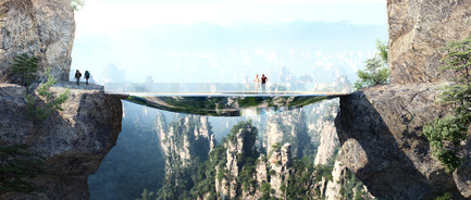 Press kit | 1040-04 - Press release | Zhangjiajie - Martin Duplantier Architectes - Landscape Architecture - Mirroring the environment, the bridge is an elliptical disk. An off-centered hole leaves open views into the gap between the two rock faces.  A strong net allows courageous visitors to lay down in the void. - Photo credit: ©Martin Duplantier Architectes