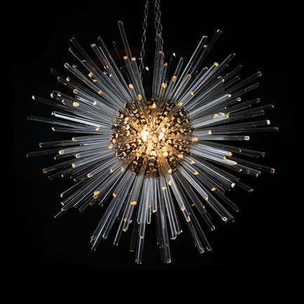 Press kit | 1124-11 - Press release | WIN Awards - Interior Practice & Lighting Categories Shortlists Announced - World Interiors News - Commercial Interior Design -  WIN Awards 2016 - Lighting Products Category:&nbsp;Neutron Pendant by Timothy Oulton (London, United Kingdom)<br><br>Designed in-house as part of Timothy Oulton's 2016 Collection, the Neutron pendant was launched in January 2016. Pushing the boundaries of design, the pendant is inspired by the transfer of energy. Like a supernova captured mid-explosion and then frozen in time, the Neutron radiates a powerful yet serene energy for elegant spaces. &nbsp;<br><br>The main light source comes from the glowing nucleus, which holds the light bulb. The light travels unseen to the ends of each of the 250 polished glass rods, so that only the tips light up, like newly formed stars floating in the cosmos. The effect is a very ambient, soft glow, perfect for people who like to entertain at home, and are looking for a dramatic conversation piece for their interior.&nbsp;<br><br>'I like the handmade quality of this and also the glass tubes that radiates the light through points within it rather than being a flat form. It's interesting and creative in terms of its lit affect, and I think it could be quite a recognizable pendant as a product.' OJ<br> - Photo credit: Timothy Oulton