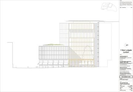 Dossier de presse | 2337-01 - Communiqué de presse | One New Ludgate - Fletcher Priest Architects - Commercial Architecture - One New Ludgate East Elevation<br> - Crédit photo : Fletcher Priest