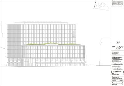 Dossier de presse | 2337-01 - Communiqué de presse | One New Ludgate - Fletcher Priest Architects - Commercial Architecture - One New Ludgate South Elevation<br> - Crédit photo : Fletcher Priest