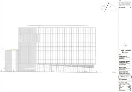 Dossier de presse | 2337-01 - Communiqué de presse | One New Ludgate - Fletcher Priest Architects - Commercial Architecture - One New Ludgate North Elevation<br> - Crédit photo : Fletcher Priest