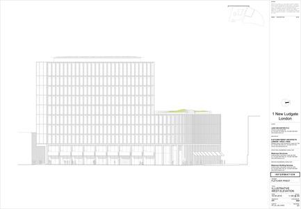 Dossier de presse | 2337-01 - Communiqué de presse | One New Ludgate - Fletcher Priest Architects - Commercial Architecture - One New Ludgate West Elevation<br> - Crédit photo : Fletcher Priest