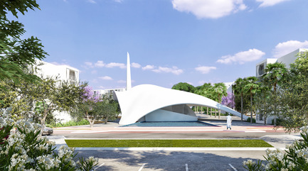 Dossier de presse | 1136-05 - Communiqué de presse | Mahmud Qabadu Mosque - Philippe Barriere Collective (PB+Co) - Institutional Architecture - View from main street  - Crédit photo : Abderrahmen Ezzine.