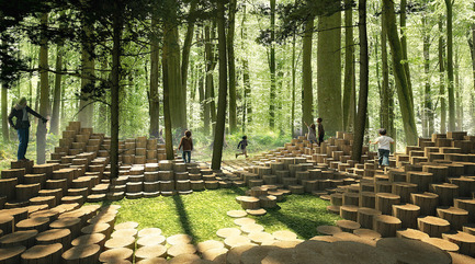 Dossier de presse | 837-20 - Communiqué de presse | International Garden Festival 2017 - Announcement of the Designers for its 18th Edition - International Garden Festival / Reford Gardens - Landscape Architecture - THE WOODSTOCK  by Atelier Yok-Yok [Steven Fuhrman, Samson Lacoste & Luc Pinsard, architects, Laure Qarémy, teacher & Pauline Lazareff, architect engineer], Paris (France) - Crédit photo : International Garden Festival