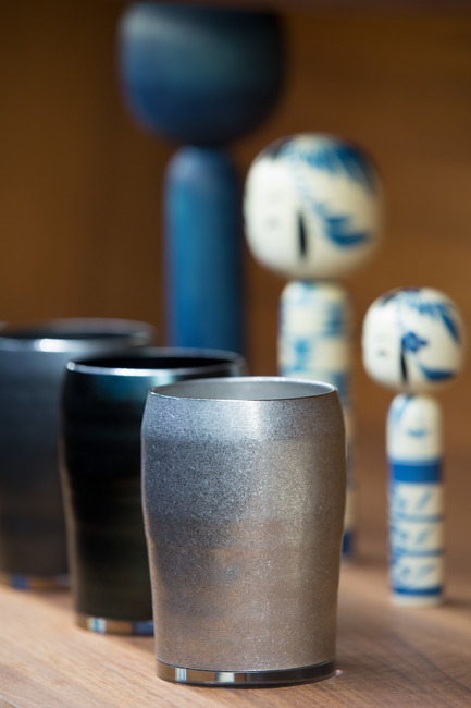 Press kit | 2051-04 - Press release | Japan Unlayered Officially Opens - Westbank | Peterson - Event + Exhibition -                   BEAMS Tsubame - Sansaku sake cups - solid stainless steel   - Photo credit: Ema Peter