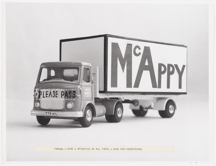 "Press kit | 756-15 - Press release | What About Happiness on the Building Site? - Canadian Centre for Architecture (CCA) - Event + Exhibition -   Cedric Price. McAppy: Photograph of McAppy truck with comments,""Care and attention at all times – even for pedestrians"", 1973–1975. <br> - Photo credit:  &nbsp;Cedric Price fonds, Canadian Centre for Architecture © CCA, Montréal."