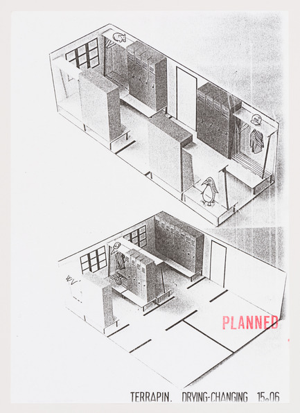 Press kit | 756-15 - Press release | What About Happiness on the Building Site? - Canadian Centre for Architecture (CCA) - Event + Exhibition - Cedric Price. McAppy: Axonometric drawing of drying-changing units, 1974. <br> - Photo credit: Cedric Price fonds, Canadian Centre for Architecture © CCA, Montréal.