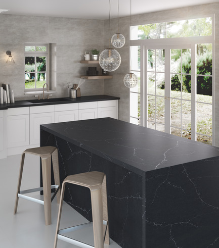 Press kit | 2349-01 - Press release | Silestone Unveils Eternal Collection with new N-Boost Technology - Cosentino - Product - Charcoal Soapstone draws inspiration from the natural beauty of blue-grey Soapstone with its contrast between a deep charcoal foundation and the white veining. <br>   - Photo credit: Cosentino