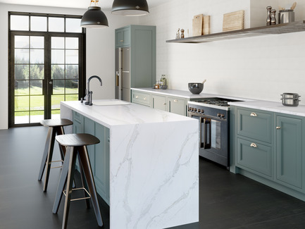 Press kit | 2349-01 - Press release | Silestone Unveils Eternal Collection with new N-Boost Technology - Cosentino - Product - Eternal Calacatta Gold captures the essence of Calacatta marble and features large grey veins with a touch of elegant gold.<br>   - Photo credit: Cosentino