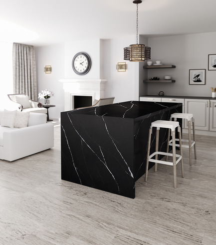 Press kit | 2349-01 - Press release | Silestone Unveils Eternal Collection with new N-Boost Technology - Cosentino - Product - Inspired by Black Marquina marble, Eternal Marquina is striking with its rich, black background and intense, white details. <br>   - Photo credit: Cosentino