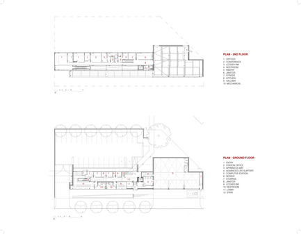 Press kit | 2322-01 - Press release | Restless Response: Emergency Medical Station 50 at Queens Hospital - Dean/Wolf Architects - Institutional Architecture - Plans, Second and First Floor - Photo credit: © Dean/Wolf Architects<br>