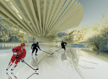 Press kit | 2121-05 - Press release | Photovoltaic Ice Skating Rink - Margot Krasojević Architects - Commercial Architecture - Ice Hockey tournaments require lower ice temeprature - Photo credit: Margot Krasojević