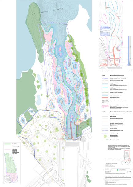 Press kit | 2230-01 - Press release | A new Landscape for the New Hydropower Plant Hagneck in Switzerland - Raymond Vogel Landschaften AG - Landscape Architecture -  Construction project, plan with contour lines of the lower waters connected to the lake.<br> <br> <br>     - Photo credit:            Raymond Vogel Landschaften AG, Zürich  <br>