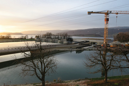 Press kit | 2230-01 - Press release | A new Landscape for the New Hydropower Plant Hagneck in Switzerland - Raymond Vogel Landschaften AG - Landscape Architecture -  New landscape around the new Hydro Power Plant on the Lake of Biel, construction phase.<br>     - Photo credit:            Raymond Vogel, Zürich