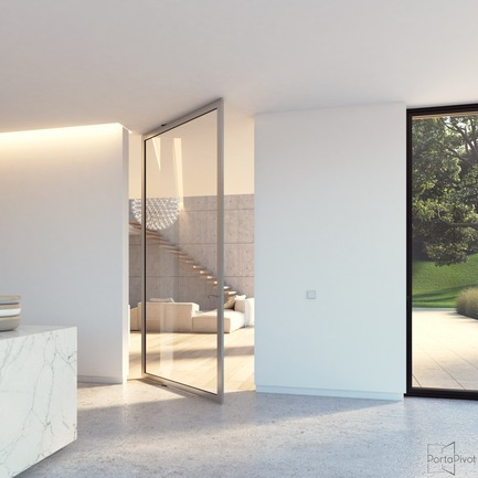 Press kit | 2163-02 - Press release | Portapivot reçoit un iF Design Award pour une charnière pivotante novatrice - Portapivot - Produit - Portapivot 6530 glass and silver aluminium pivot door - Photo credit: Portapivot