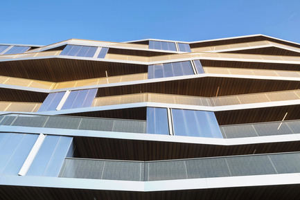 Press kit | 2372-01 - Press release | Résidence de l'Aqueduc in Gentilly / France - Daquin & Ferrière Architecture - Residential Architecture -  Residence de l'Aqueduc - Gentilly / France <br>DAQUIN & FERRIERE ARCHITECTURE  <br>Zoom on West facade - Geometric folding<br> - Photo credit: Hervé Abbadie