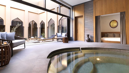 Press kit | 2177-02 - Press release | Lotfi Sidirahal from Atelier Pod Designs the Highest Five Star Resort in the Middle East: Anantara Jabal Akhdar - Atelier Pod - Lifestyle - Spa Male Relaxation Area  - Photo credit: Anantara Jabal Akhdar