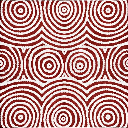 Dossier de presse | 2399-01 - Communiqué de presse | My Country: Design With Origin - Bay Gallery Home - Residential Interior Design - Bay Gallery Home, My Country Bush Onion 2 ceramic wall tile, central tile design. From an original Australian Aboriginal artwork. - Crédit photo : Bay Gallery Home