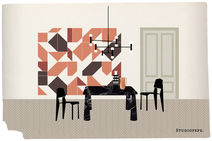 Press kit | 1619-05 - Press release | Lambert & Fils is Headed to Milan - Lambert & Fils - Industrial Design - Illustration made for Studiopepe's exposition called The Visit which includes a variety of Lambert & Fils' collections. - Photo credit:  Alberto Fiocco, illustrator