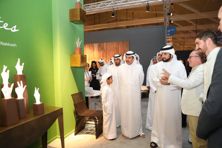 Press kit | 1834-13 - Press release | Design Days Dubai Completes its Sixth and Most Successful Edition in its New Location, d3 - Design Days Dubai - Event + Exhibition - DDD2017_H.H. Sheikh Ahmed at Nakkash Gallery booth with Wajih and Omar Nakkash - Photo credit: Image Courtesy of Design Days Dubai