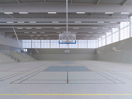 Press kit | 1040-05 - Press release | Sports Complex in Bussy Saint-Georges - Martin Duplantier Architectes - Institutional Architecture - The gymnasium - Photo credit:  Yohan ZERDOUN